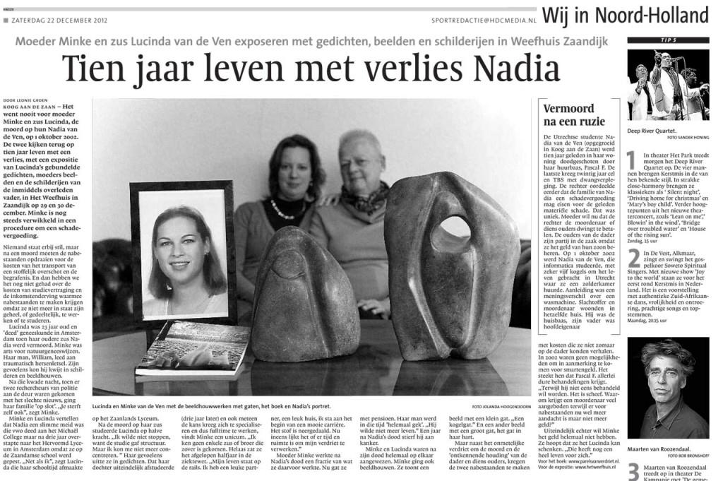 Tien jaar leven met verlies Nadia - NHD december 2012